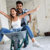 Couple happily making renovations